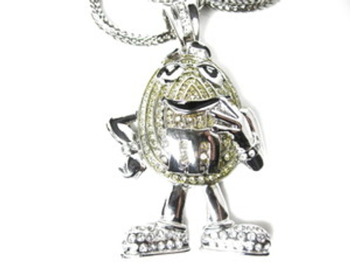 "M-ICED Out SILVER Hip Hop Pendant w/FREE 36"" Chain"