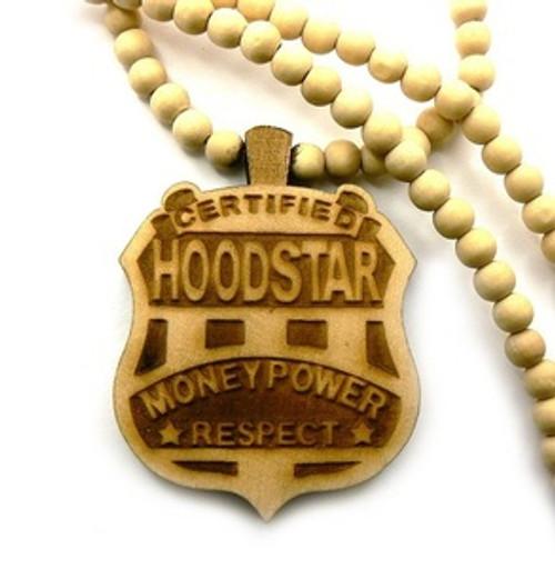 """Hoodstar Natural Wooden Pendant w/FREE 36"" Beaded Chain"