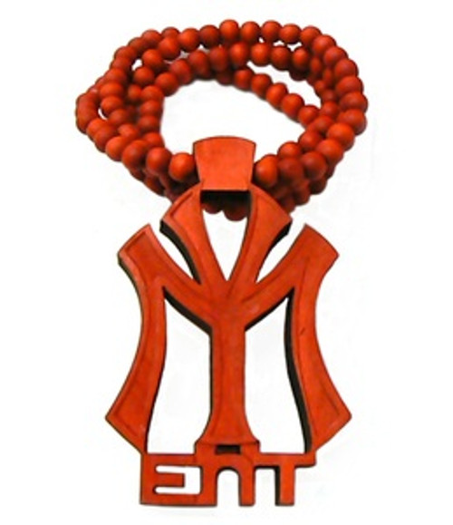 """YOUNG MONEY RED Wooden Pendant w/FREE 36"" Beaded Chain"