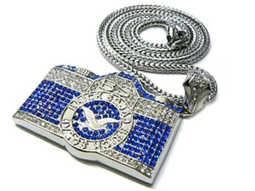 "Gucci Mane WAKA FLOCKA  Iced Out BLUE CAM w/ FREE 36"" Chain"