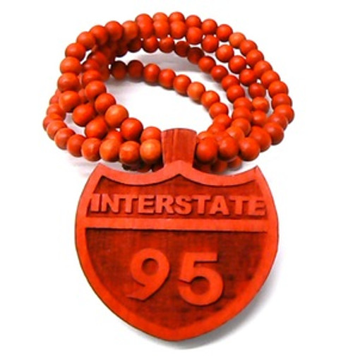 """I95 RED INTERSTATE Wooden Pendant w/FREE 36"" Beaded Chain"