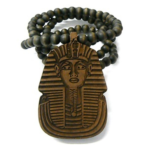 """King Tut BROWN Wooden pendant w/ FREE 36"" Beaded chain"