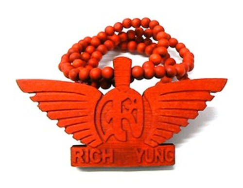 """RICH YUNG RED Wooden Pendant w/FREE 36"" Beaded Chain"