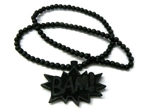 """BAM"" BLACK Wood Pendant with FREE Beaded chain"