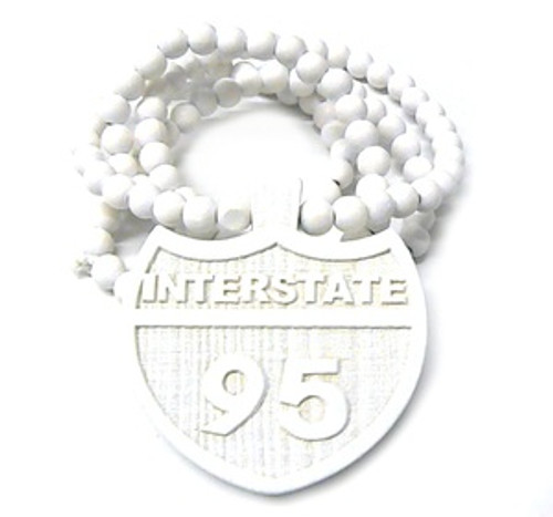 """I95 WHITE INTERSTATE Wooden Pendant w/FREE 36"" Beaded Chain"