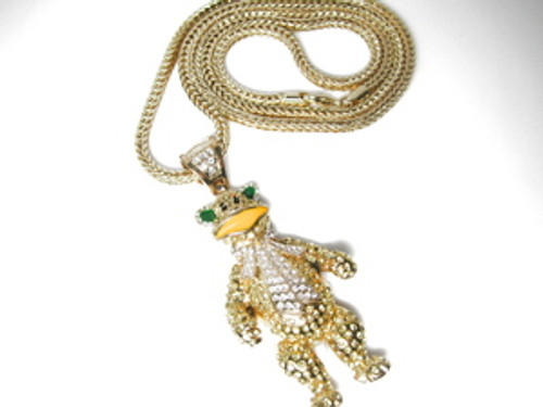 """Waka Flocka 3"" GOLD BEAR Chain w/FREE 36"" Chain"