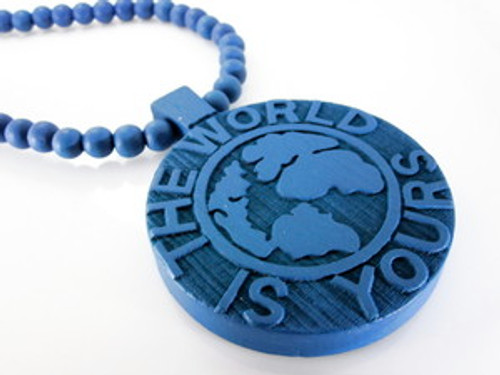"""BRICK SQUAD BLUE WORLD Wooden Pendant w/FREE 36"" Beaded Chain"