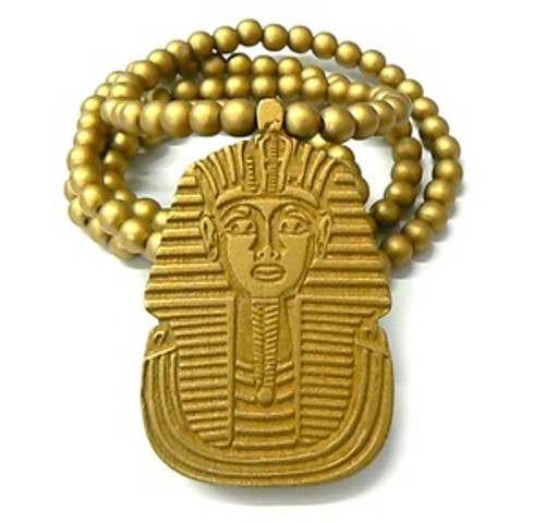 """King Tut GOLD Wooden pendant w/ FREE 36"" Beaded chain"