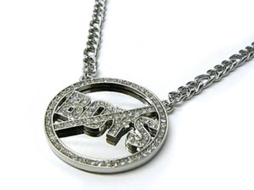 Silver  Circle NO Boys x Pendant w/ FREE Chain