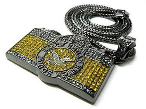"Gucci Mane WAKA FLOCKA Iced Out YELLOW CAM w/ FREE 36"" Chain"
