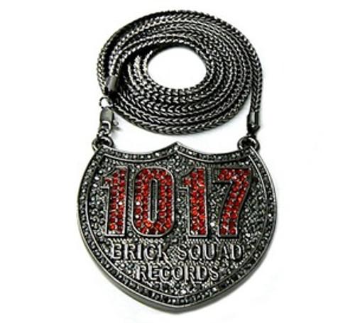 """""""1017 Gucci Mane Waka Flocka BLACK&RED ICE Piece w/FREE 36"""" chain"""