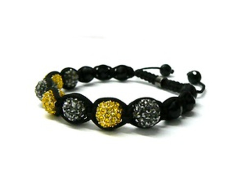 'NEW SHAMBHALA WIZ KHALIFA  12MM BLACK&YELLOW  BRACELET MACRAME