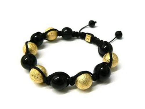 """""""Shambhala Bracelet-GOLD &BLACK BALL..BEADED..HOT"""