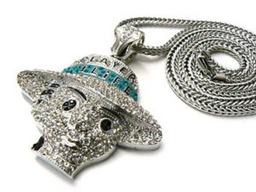 "Player H-Life Fully Iced Out Microstone  Pendant w/FREE 36"" Chain"