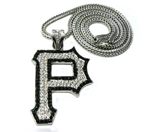 """""""1-Wiz Khalifa SILVER """"P"""" Piece w/FREE 36"""" Chain *BLACK TRIM"""