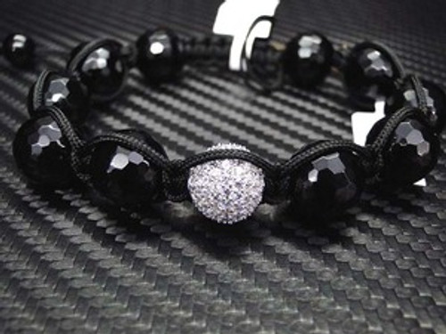"""""""Men's Black Onyx Shambhala Bracelet w/ Swarovski Crystal Bead"""