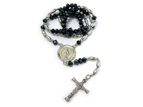 """Shambhala Black Diamond Rosary Bead Chain with Cross#4"