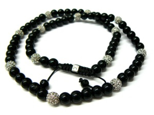 "36""Black ONYX & CRYSTAL Shambhala Necklace"
