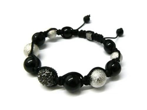 """Shambhala Bracelet-Crystal, ONYX & Pearl..HOT"