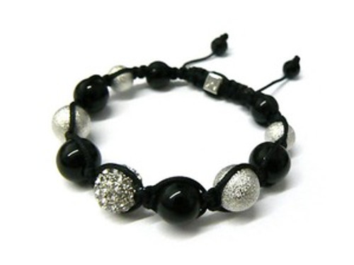 """Shambhala Bracelet-Crystal, ONYX & Pearl #2..HOT"