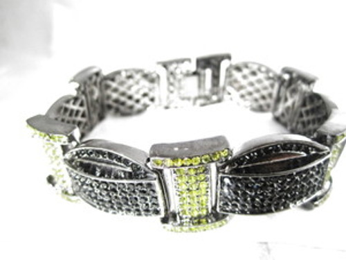"'1-Wiz Khalifa Iced Black & Yellow Piece Chain 9"" Bracelet 2"