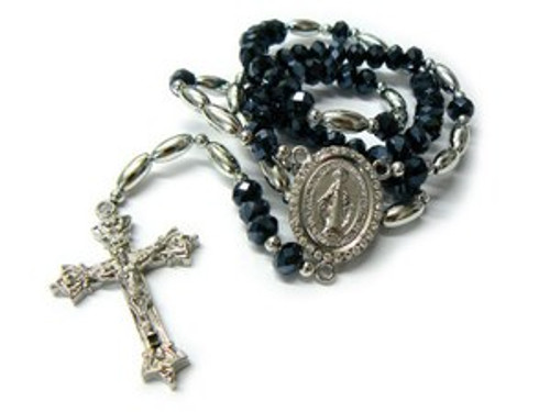 """Shambhala Black Diamond Rosary Bead Chain with Cross#6"