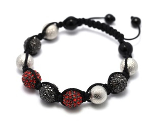 """""""Shambhala bracelet v-series002 Black/Red/Silver"""