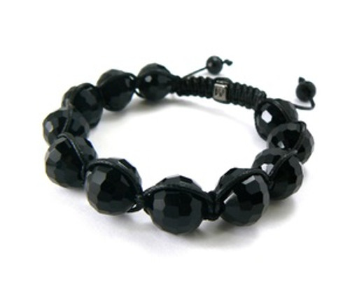 """MENS SHAMBHALA BEAD ALL BLACK ONYX& MACRAME"