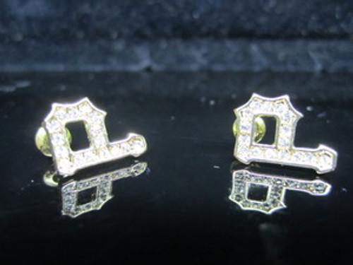 "1-RICK ROSS ""P"" 14K GP Gold Earrings"