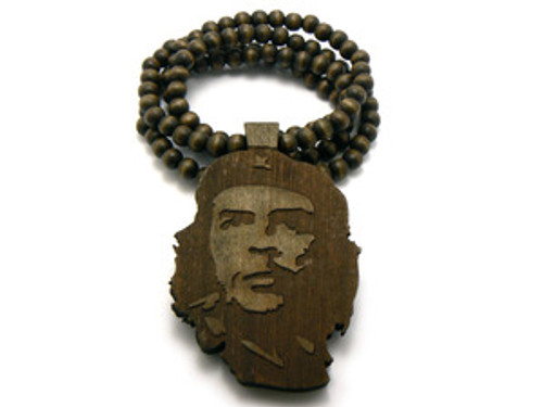"""Che Guevara Freedom Fighter Maple Good Wooden pendant w/ FREE beaded chain"