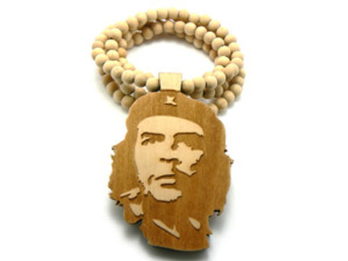 """Che Guevara Freedom Fighter Natural Good Wooden pendant w/ FREE beaded chain"