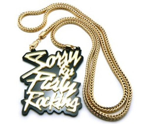 """Sorry for the Party Rocking-Gold Pendant & 36"" Chain Set"