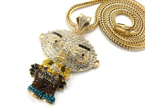 """ICED OUT-Stewie Gold Pendant w/FREE 36"" Chain"