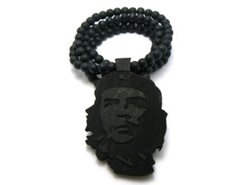 """Che Guevara Freedom Fighter Black Good Wooden pendant w/ FREE beaded chain"