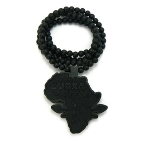 """Zooka Warrior Black Good Wood Pendant w/FREE Chain"