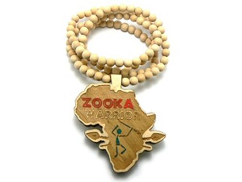 """Zooka Warrior Natural Good Wood Pendant w/FREE Chain"
