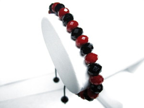 """BLACK&RED  DIAMOND 10mm Rick Ross SHAMBHALA BRACELET MACRAME 050"