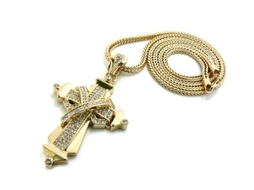 """""""Bone Thugs &Harmony Gold Plated ICED OUT  Cross w/FREE 36"""" Chain"""