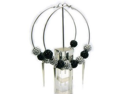 """Basketball Wives Earrings-Black & Silver Hoops"