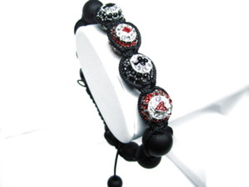 """BLACK& RED  12mm BLACKJACK BRACELET"