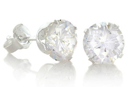 """April Diamond Birthstone Round CZ Gangsta Silver Stud Earrings"