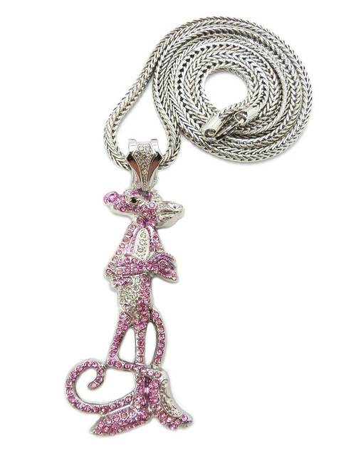 """Iced Out Pink Panther Silver/Silver Pendant w/FREE 36"" Chain"