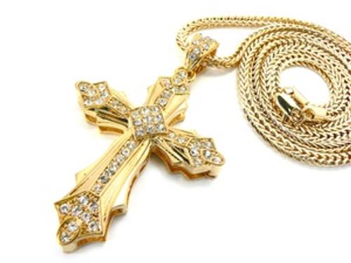 """Gold ICE CROSS Pendant w/FREE 36"" Chain"