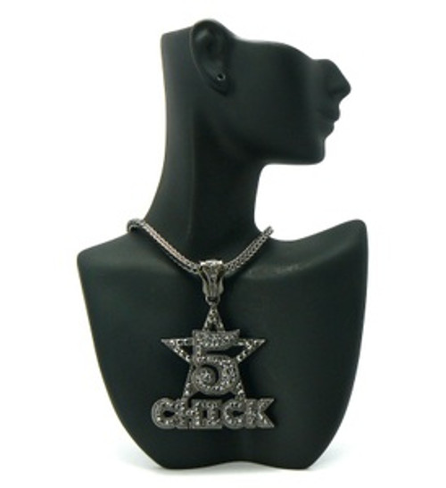 """5 Star Chick Pendant BLACK w/FREE Chain"