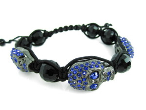 """""""Blue Skull XL Shambhala Bracelet"""