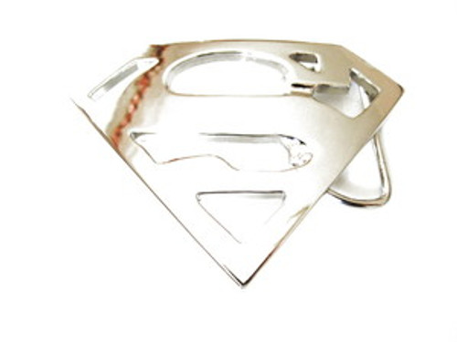 """Superman Reflective Silver-Mirrored finish belt buckle"