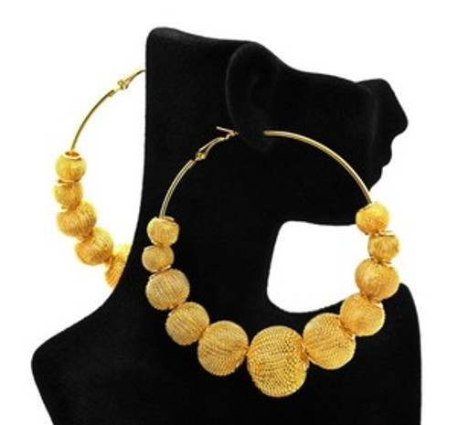 """Basketball Wives Gold Mesh Earrings 2"