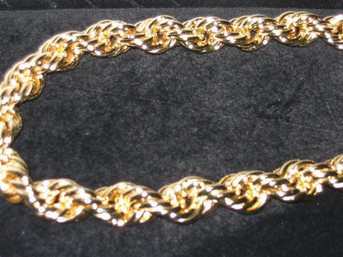 10MM-Hip Hop  Pure gold rope chain 30""