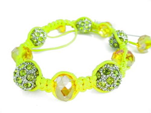 """LA  Garden Yellow Crystal Shambhala Bracelet"