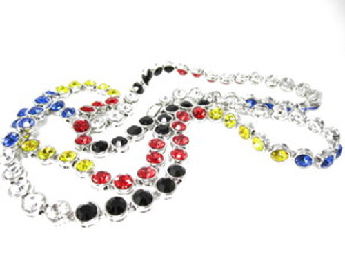 """Bullet Chain-MultiColor Stones/Silver 36"" x 5MM"